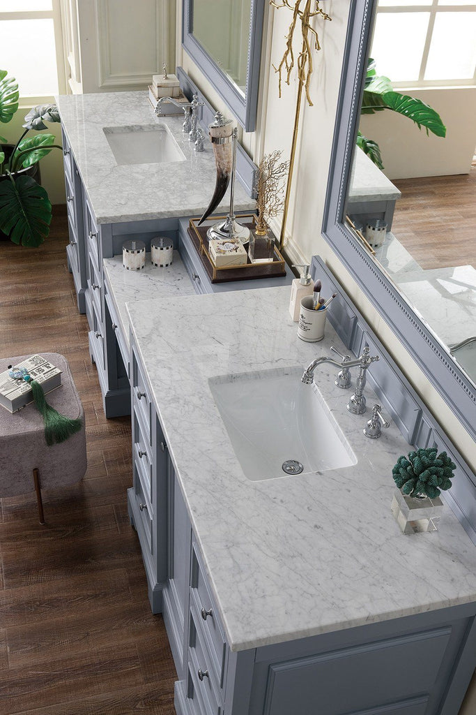 "118"" De Soto Silver Gray Double Sink Bathroom Vanity, James Martin Vanities - vanitiesdepot.com"