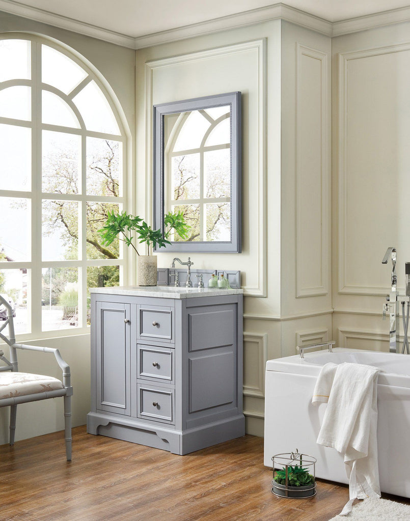 "30"" De Soto Silver Gray Single Sink Bathroom Vanity, James Martin Vanities - vanitiesdepot.com"
