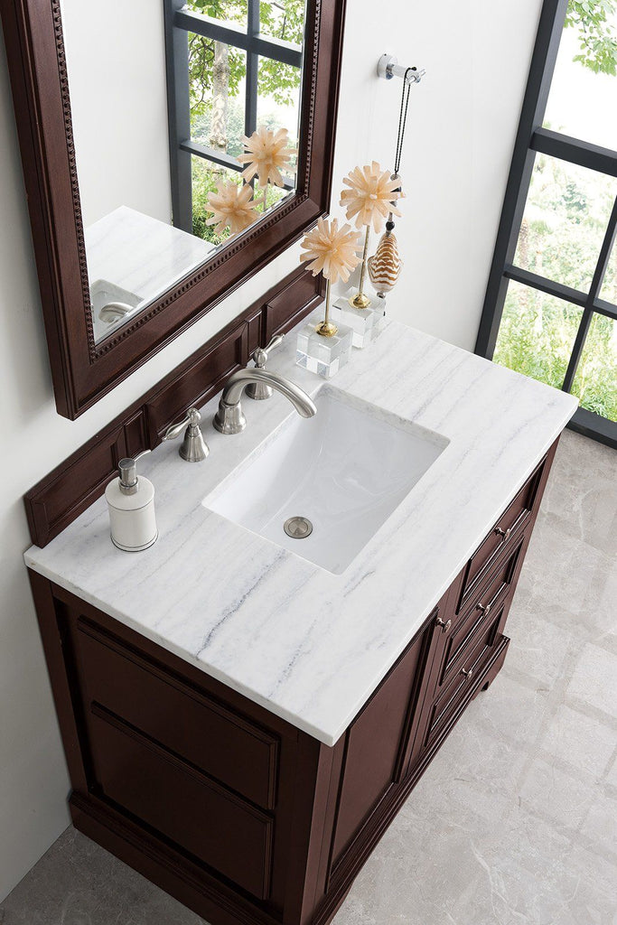 "36"" De Soto Burnished Mahogany Single Sink Bathroom Vanity - vanitiesdepot.com"
