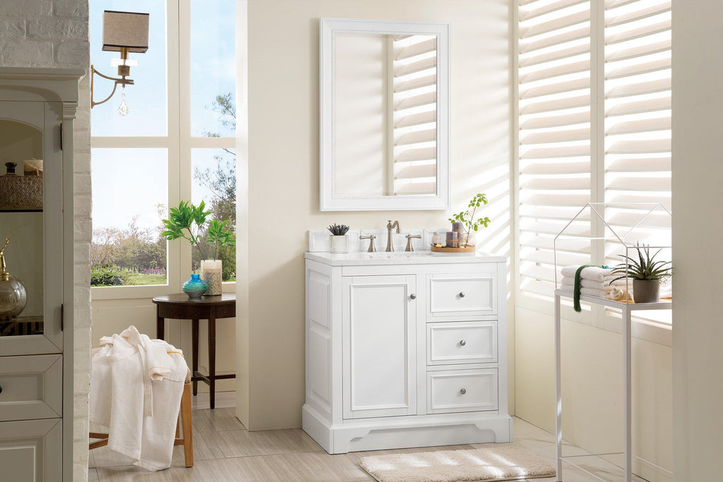 "36"" De Soto Bright White Single Sink Bathroom Vanity, James Martin Vanities - vanitiesdepot.com"