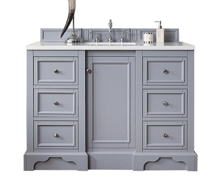 De Soto Silver Gray Single Sink Bathroom Vanity - 48 gray bathroom vanity