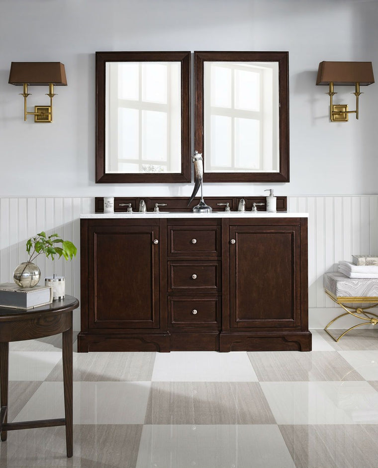 "60"" De Soto Burnished Mahogany Double Sink Bathroom Vanity, James Martin Vanities - vanitiesdepot.com"