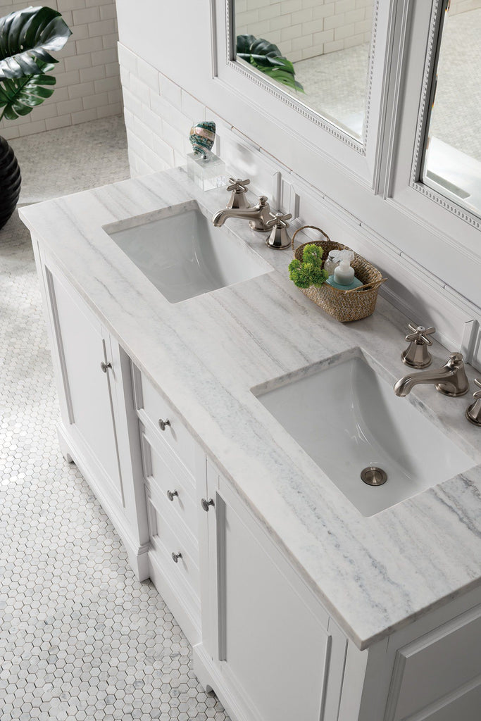 "60"" De Soto Bright White Double Sink Bathroom Vanity, James Martin Vanities - vanitiesdepot.com"