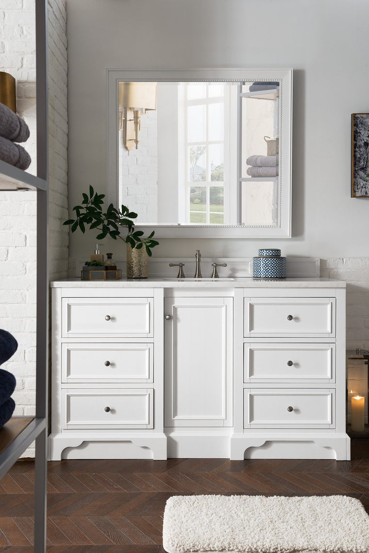 "60"" De Soto Bright White Single Sink Bathroom Vanity, James Martin Vanities - vanitiesdepot.com"
