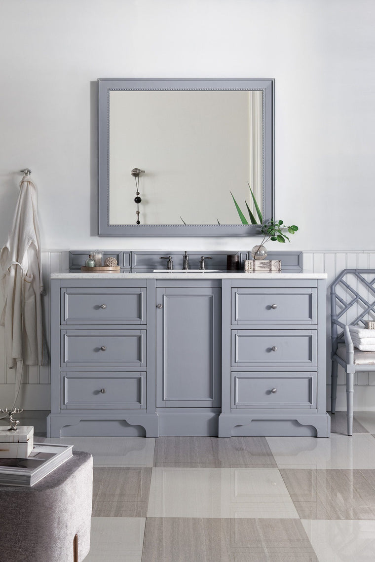 "60"" De Soto Silver Gray Single Sink Bathroom Vanity, James Martin Vanities - vanitiesdepot.com"