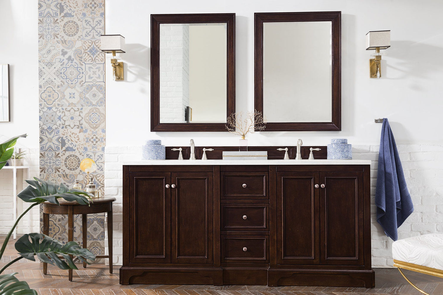 "72"" De Soto Burnished Mahogany Double Sink Bathroom Vanity, James Martin Vanities - vanitiesdepot.com"