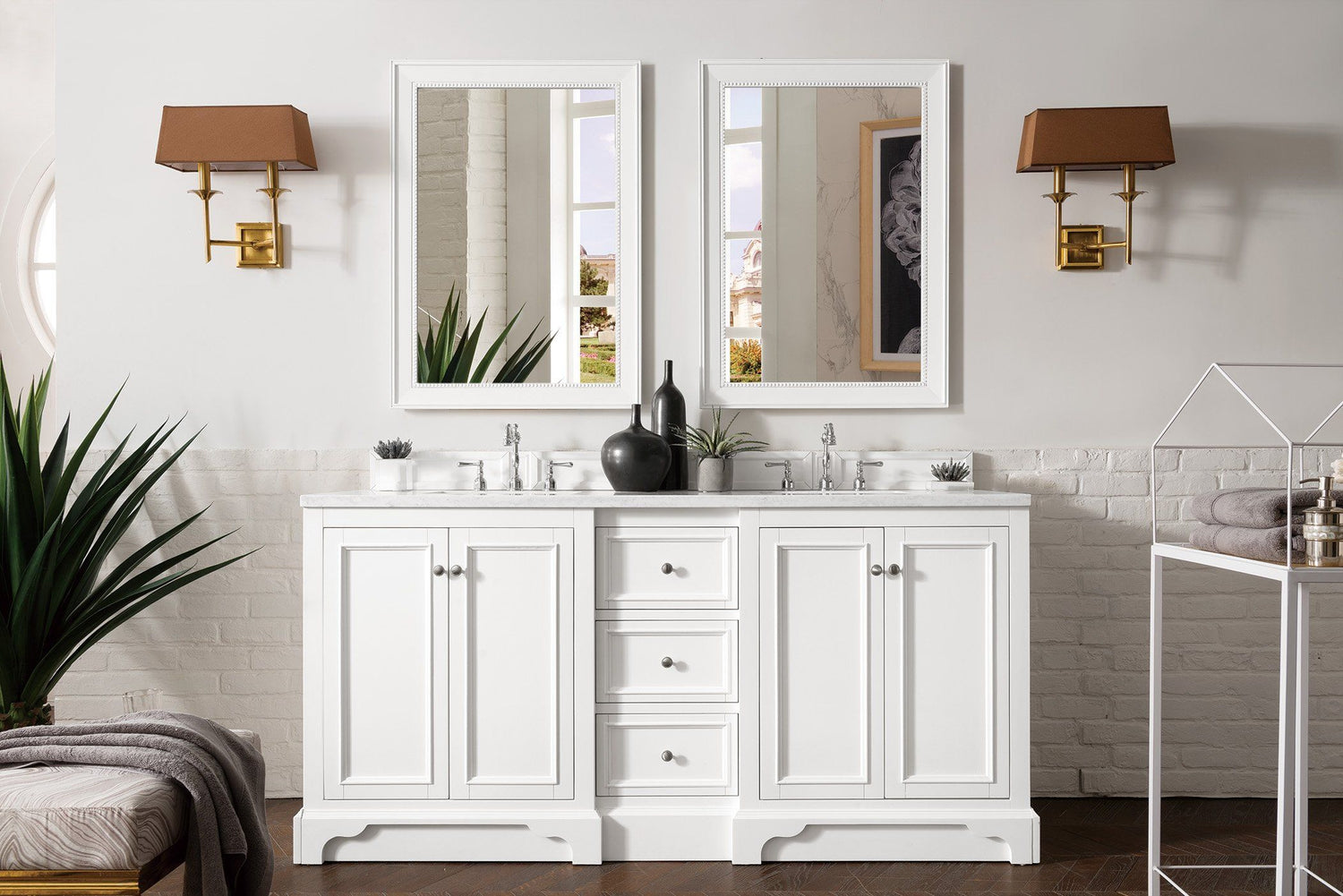"72"" De Soto Bright White Double Sink Bathroom Vanity"