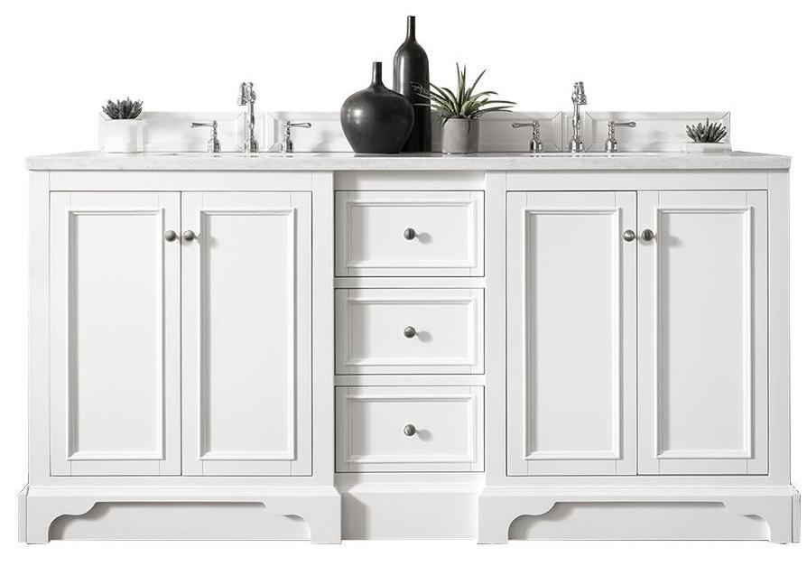 "72"" De Soto Bright White Double Sink Bathroom Vanity, James Martin Vanities - vanitiesdepot.com"