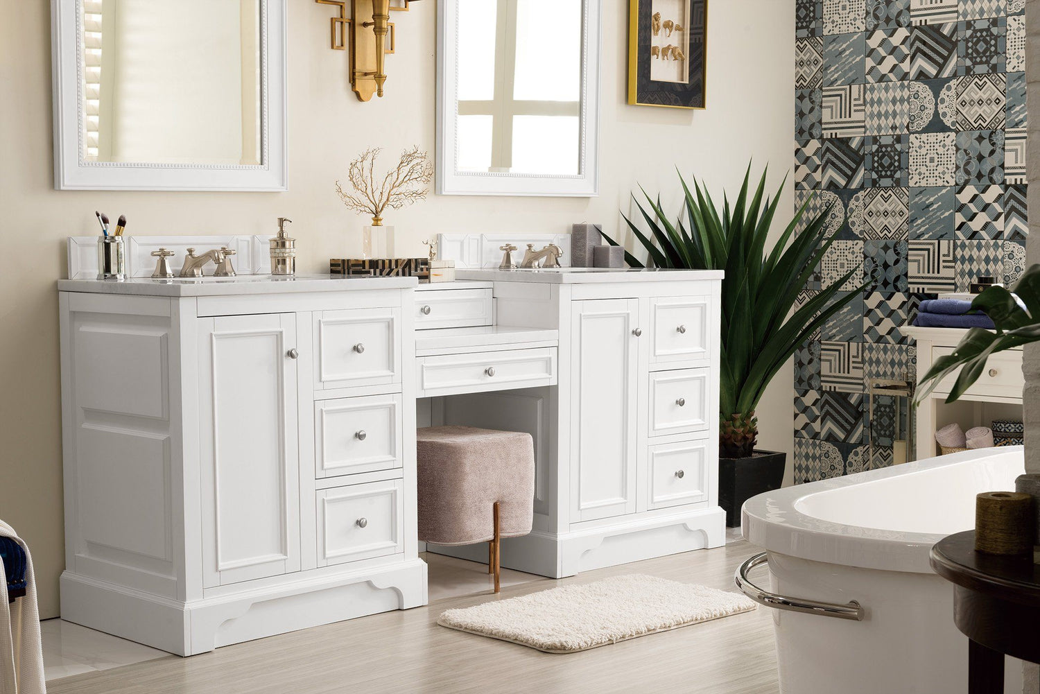 82 De Soto Bright White Double Sink Bathroom Vanity