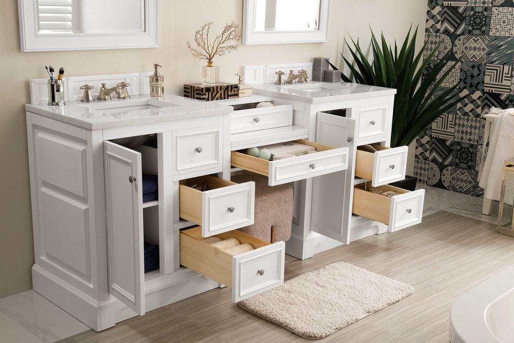 "82"" De Soto Bright White Double Sink Bathroom Vanity - vanitiesdepot.com"