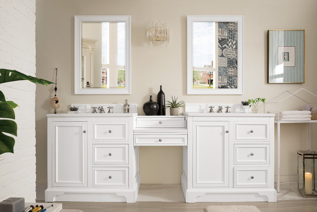 94 De Soto Bright White Double Sink Bathroom Vanity