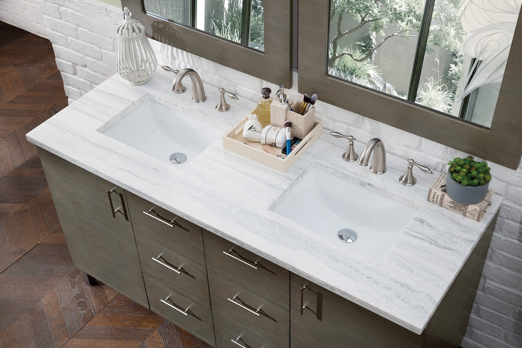 "60"" Metropolitan Silver Oak Double Sink Bathroom Vanity, James Martin Vanities - vanitiesdepot.com"