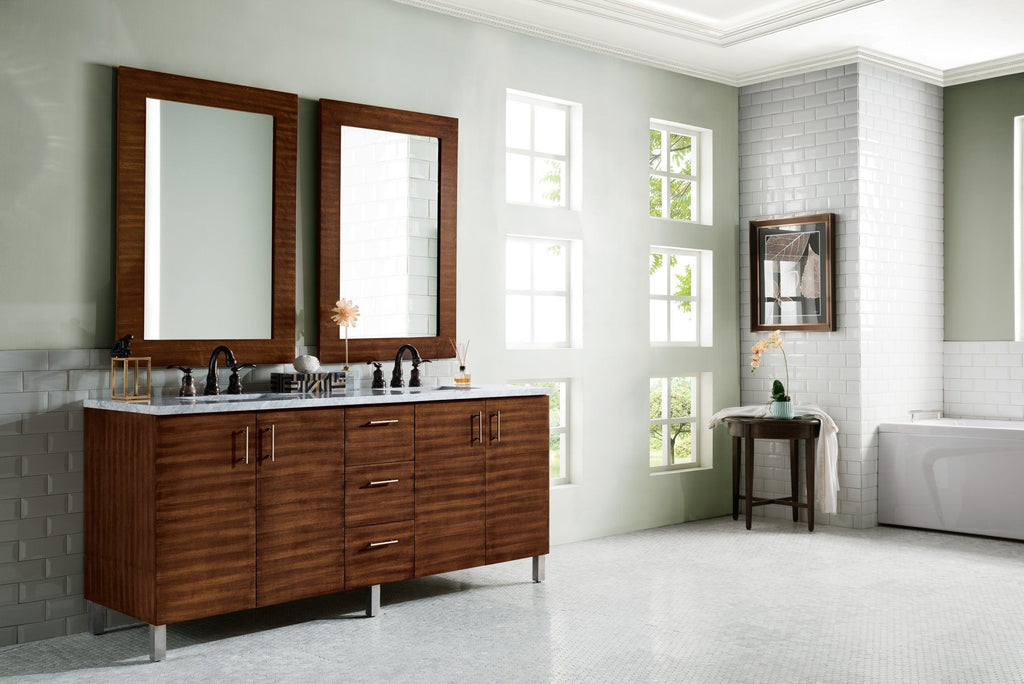 72 Metropolitan American Walnut Double Sink Bathroom Vanity