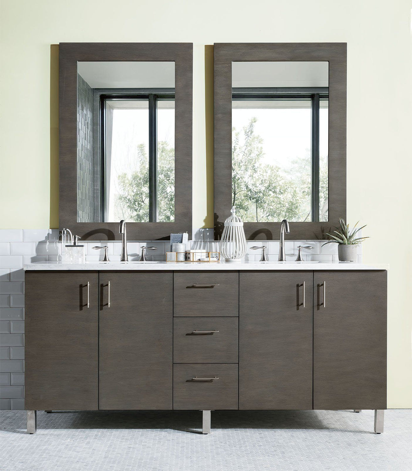 "72"" Metropolitan Silver Oak Double Sink Bathroom Vanity"