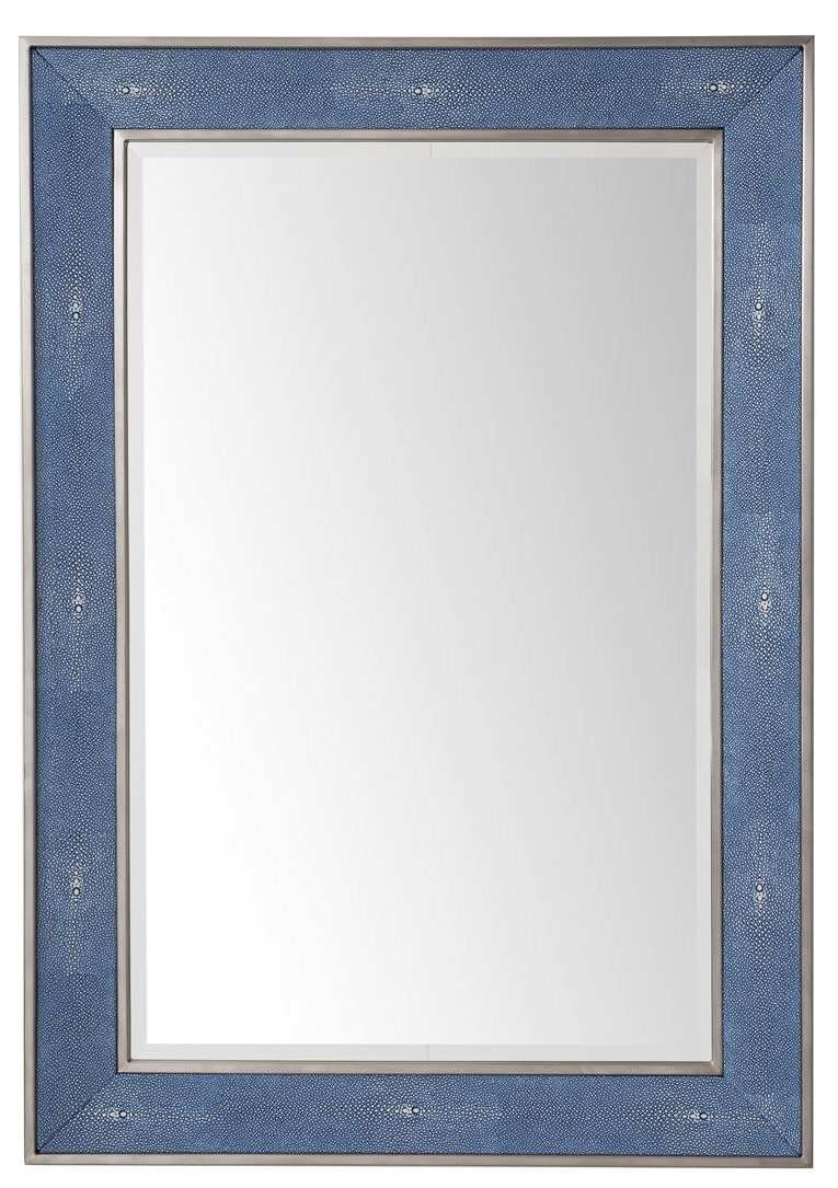 "Element 28"" Mirror, Silver with Delft Blue"