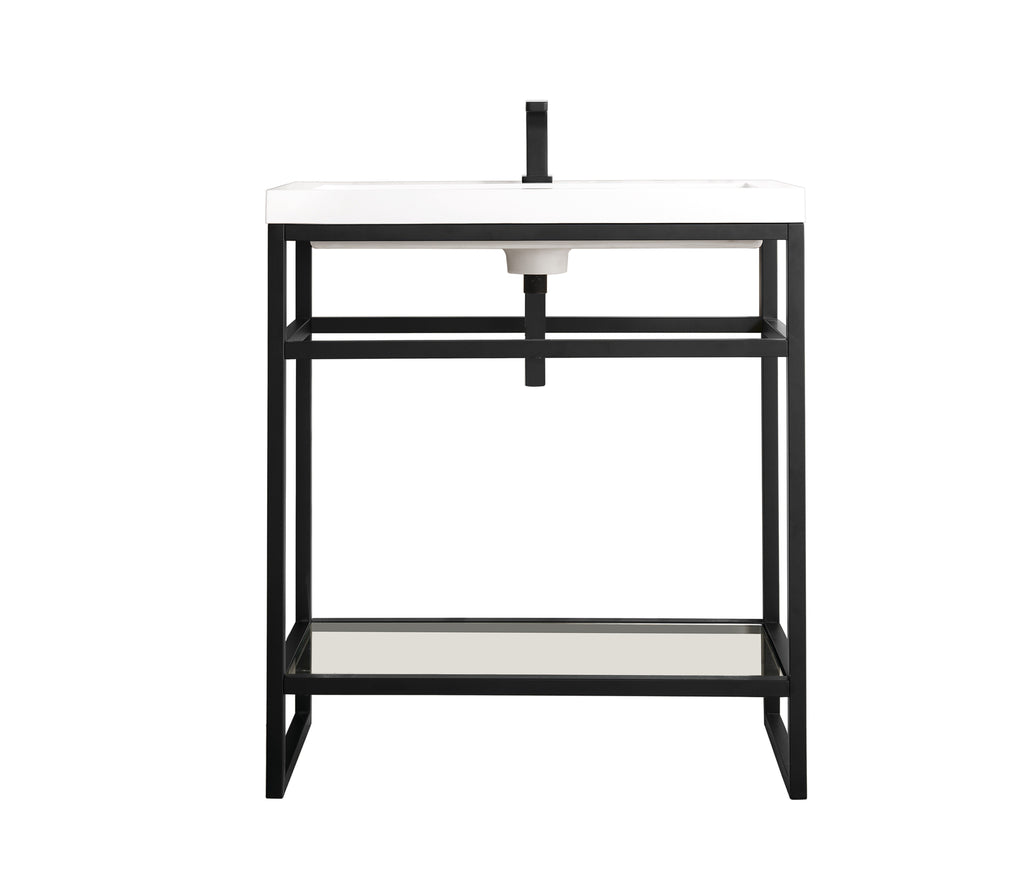 "Boston 31.5"" Stainless Steel Sink Console, Matte Black w/ White Glossy Resin Countertop, James Martin Vanities - vanitiesdepot.com"