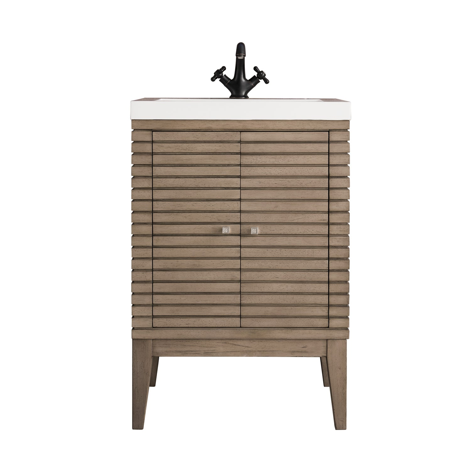 "24"" Linden Single Vanity Cabinet, Whitewashed Walnut, James Martin Vanities - vanitiesdepot.com"