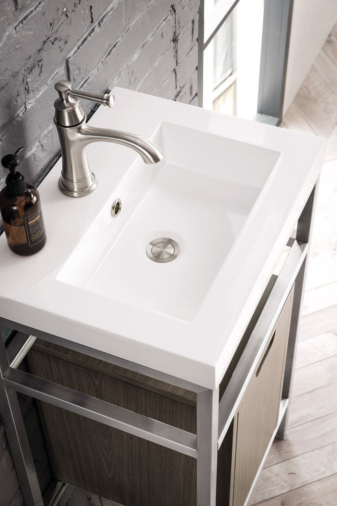 "Boston 20"" Stainless Steel Sink Console, Brushed Nickel w/ Ash Gray Storage Cabinet, White Glossy Resin Countertop"