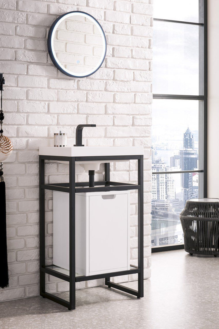 "Boston 20"" Stainless Steel Sink Console, Matte Black w/ Storage Cabinet, White Glossy Resin Countertop, James Martin Vanities - vanitiesdepot.com"