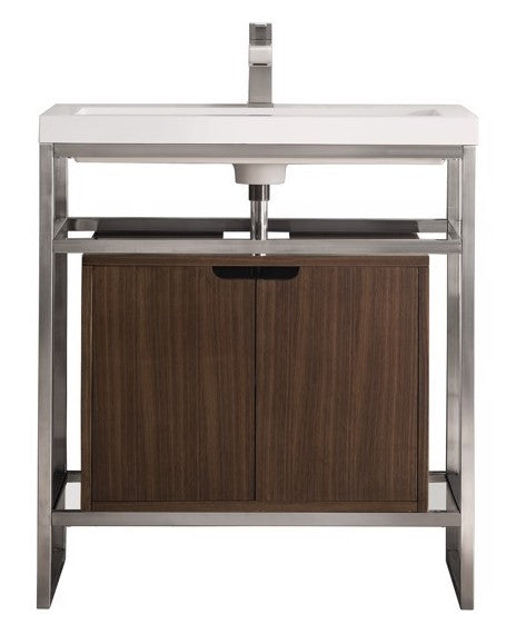 "Boston 31.5"" Stainless Steel Sink Console, Brushed Nickel w/ Mid Century Walnut Storage Cabinet, White Glossy Resin Countertop"