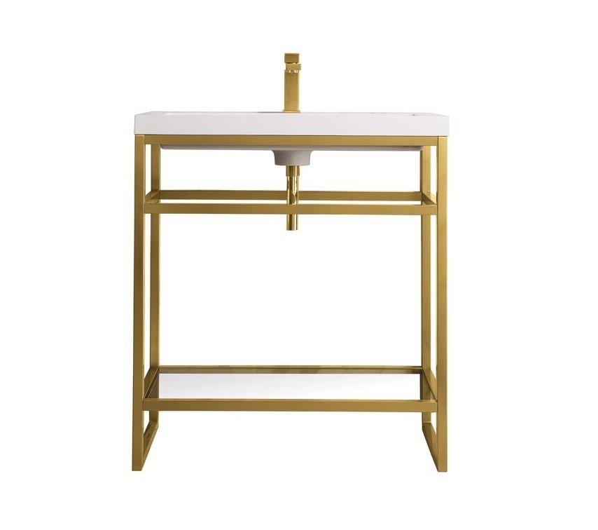 "Boston 31.5"" Stainless Steel Sink Console, Radiant Gold w/ White Glossy Resin Countertop, James Martin Vanities - vanitiesdepot.com"
