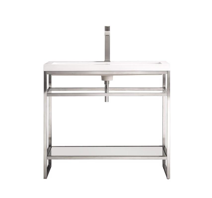 "Boston 39.5"" Stainless Steel Sink Console, Brushed Nickel w/ White Glossy Resin Countertop, James Martin Vanities - vanitiesdepot.com"