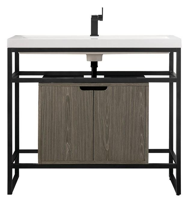 "Boston 39.5"" Stainless Steel Sink Console, Matte Black w/ Ash Gray Storage Cabinet, White Glossy Resin Countertop"
