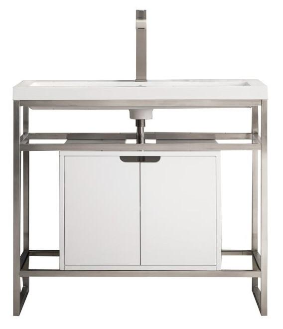 "Boston 39.5"" Stainless Steel Sink Console, Brushed Nickel w/ Glossy White Storage Cabinet, White Glossy Resin Countertop"