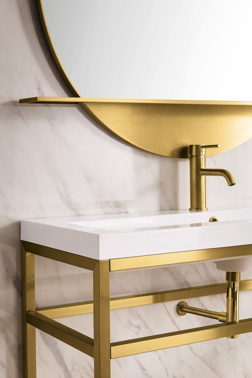 "Boston 39.5"" Stainless Steel Sink Console, Radiant Gold w/ White Glossy Resin Countertop, James Martin Vanities - vanitiesdepot.com"