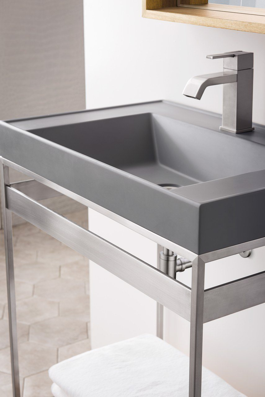 "Como 27.6"" Sink Console, Brushed Nickel, Modern Grey Top"