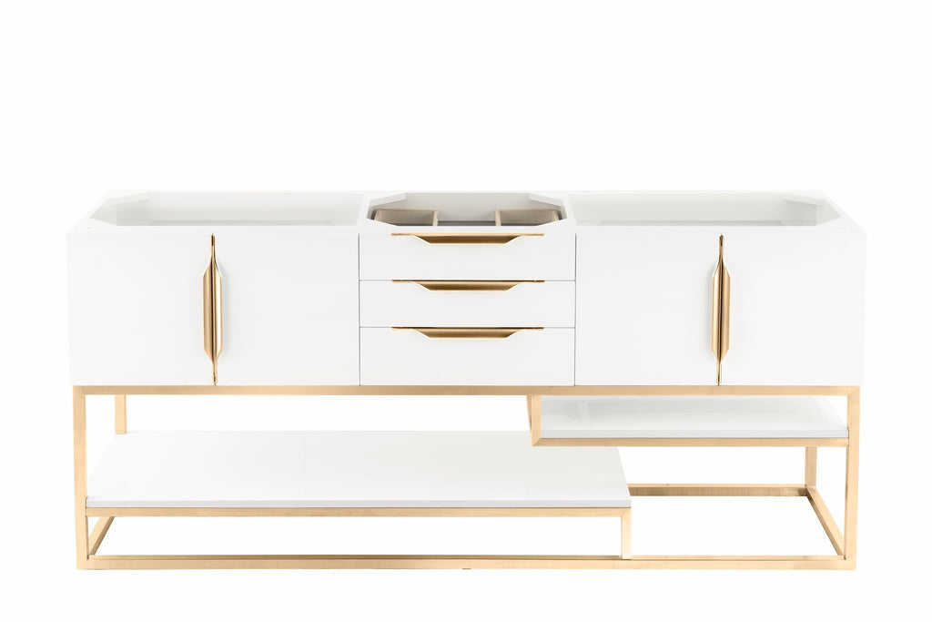 "72"" Columbia Double Vanity, Glossy White, Radiant Gold, James Martin Vanities - vanitiesdepot.com"
