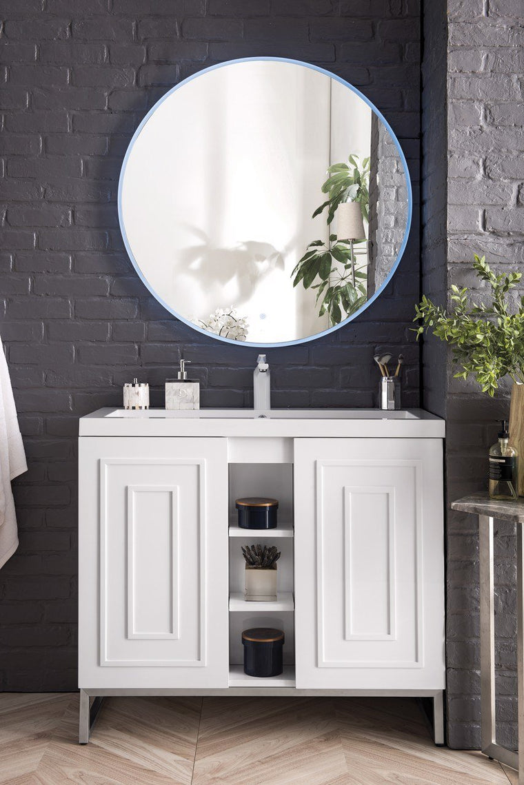 "39.5"" Alicante' Single Vanity Cabinet, Glossy White w/ Brushed Nickel"
