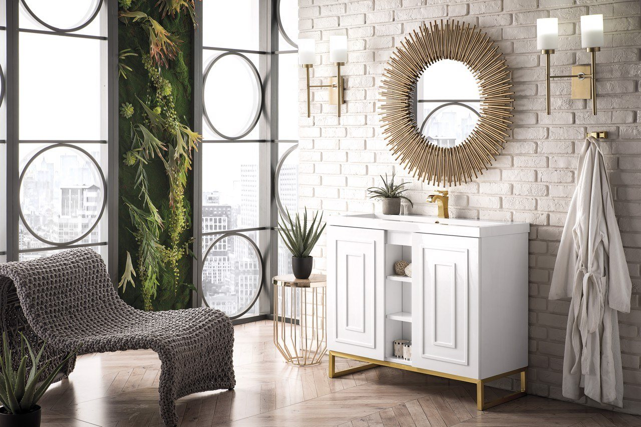 "39.5"" Alicante' Single Vanity Cabinet, Glossy White w/ Radiant Gold"