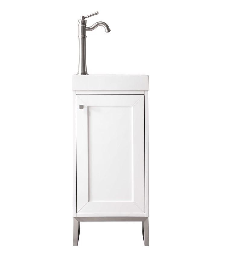 "Chianti 16"" Single Vanity Cabinet, Glossy White, Brushed Nickel"