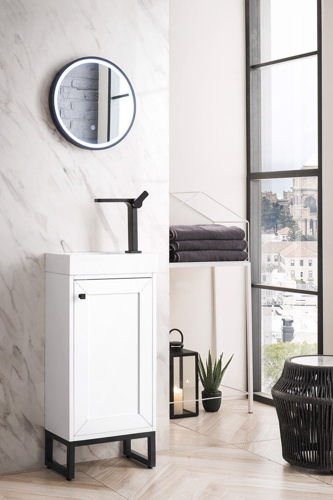 "Chianti 16"" Single Vanity Cabinet, Glossy White, Matte Black"
