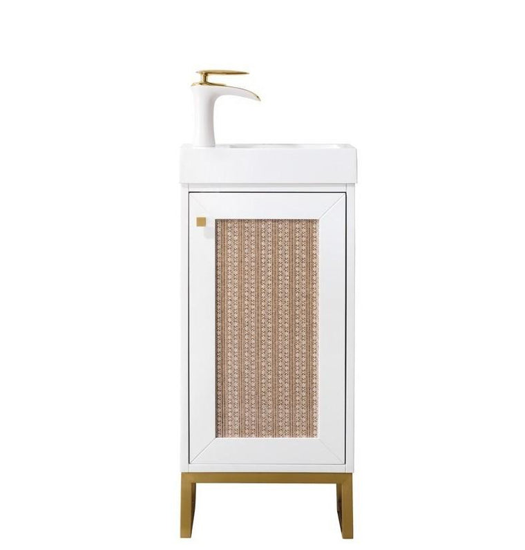 "Chianti 16"" Single Vanity Cabinet, Glossy White, Radiant Gold"
