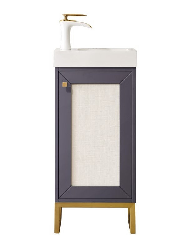 "Chianti 16"" Single Vanity Cabinet, Mineral Grey, Radiant Gold"