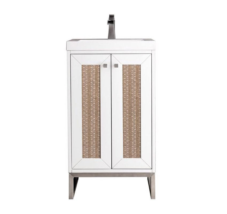 "Chianti 20"" Single Vanity Cabinet, Glossy White, Brushed Nickel"
