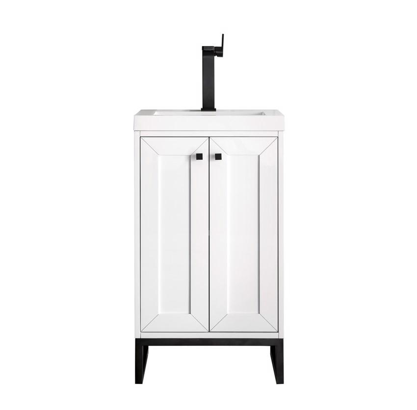 "Chianti 20"" Single Vanity Cabinet, Glossy White, Matte Black"
