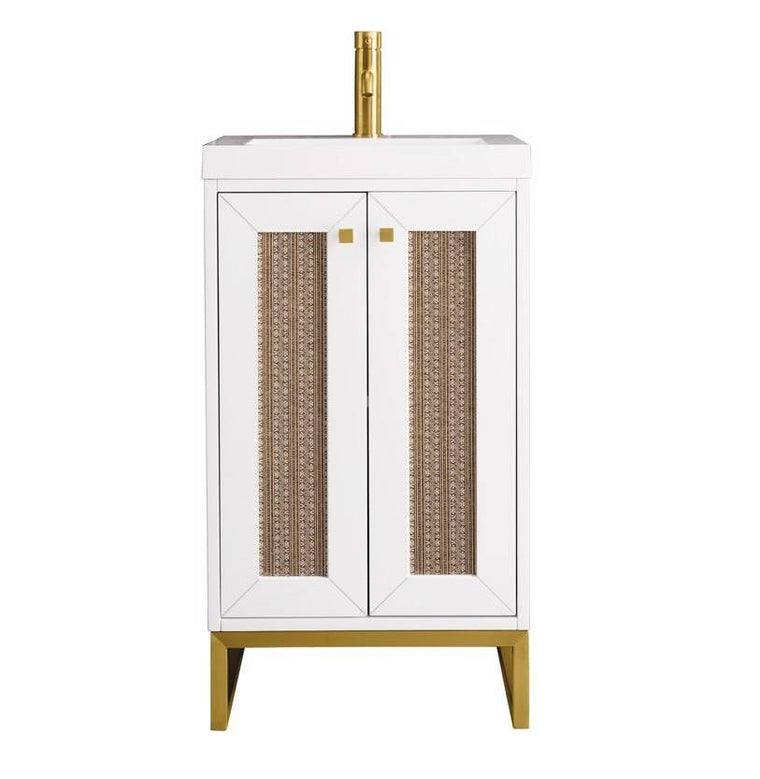 "Chianti 20"" Single Vanity Cabinet, Glossy White, Radiant Gold"