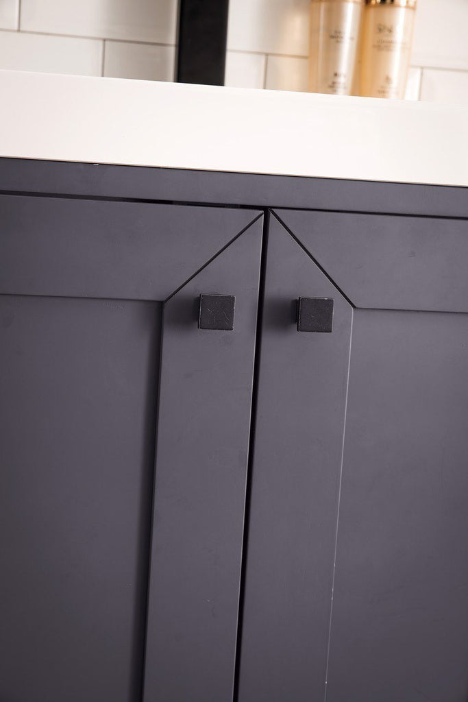 "Chianti 20"" Single Vanity Cabinet, Mineral Grey, Matte Black"