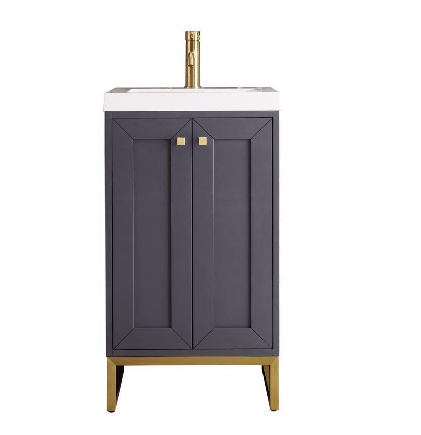 "Chianti 20"" Single Vanity Cabinet, Mineral Grey, Radiant Gold"