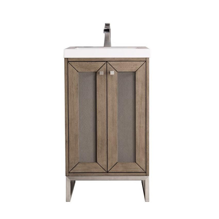 "Chianti 20"" Single Vanity Cabinet, Whitewashed Walnut, Brushed Nickel"