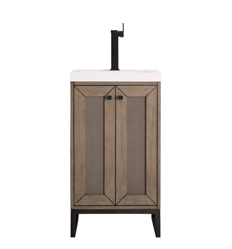 "Chianti 20"" Single Vanity Cabinet, Whitewashed Walnut, Matte Black"