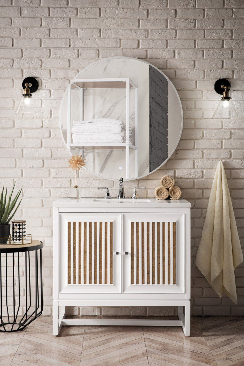 "Athens 36"" Single Vanity Cabinet, Glossy White"