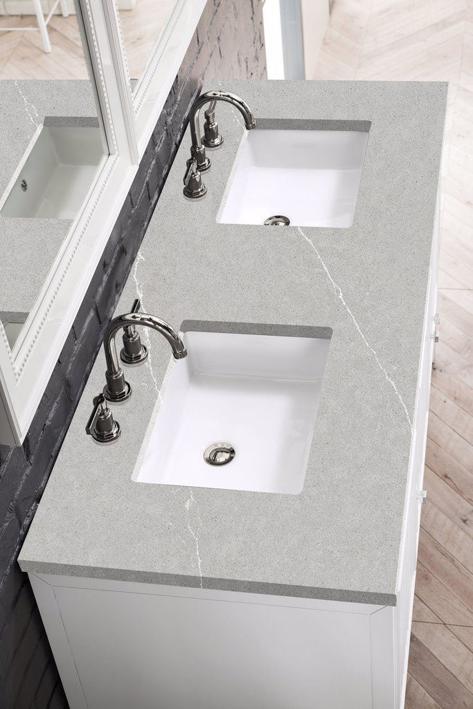 "Athens 60"" Double Vanity Cabinet, Glossy White"