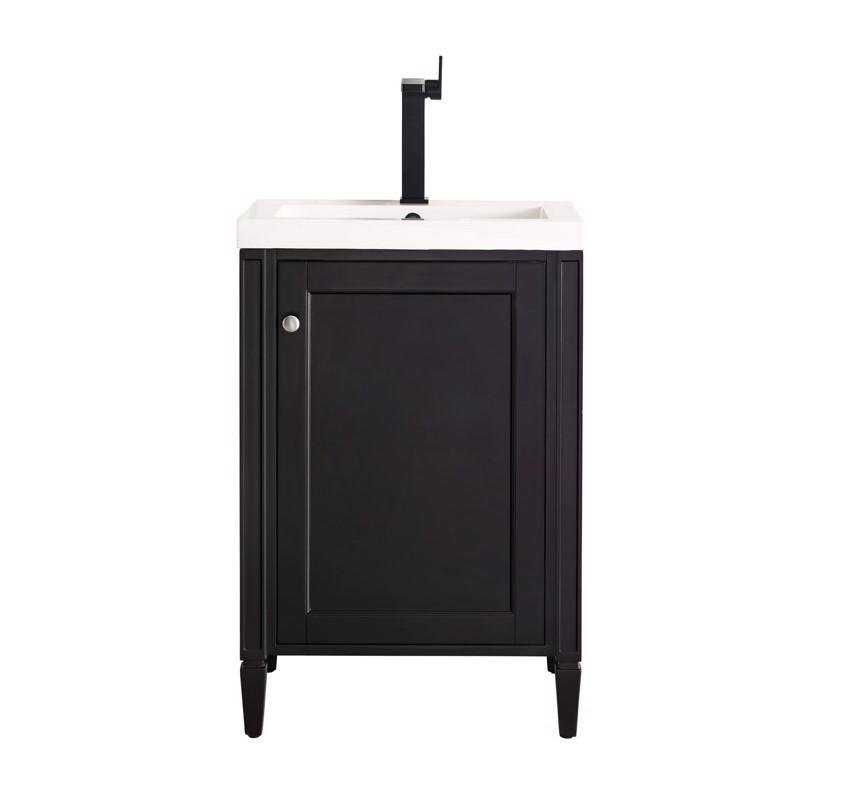 "Britannia 24"" Single Vanity Cabinet, Black Onyx w/ White Glossy Resin Countertop"