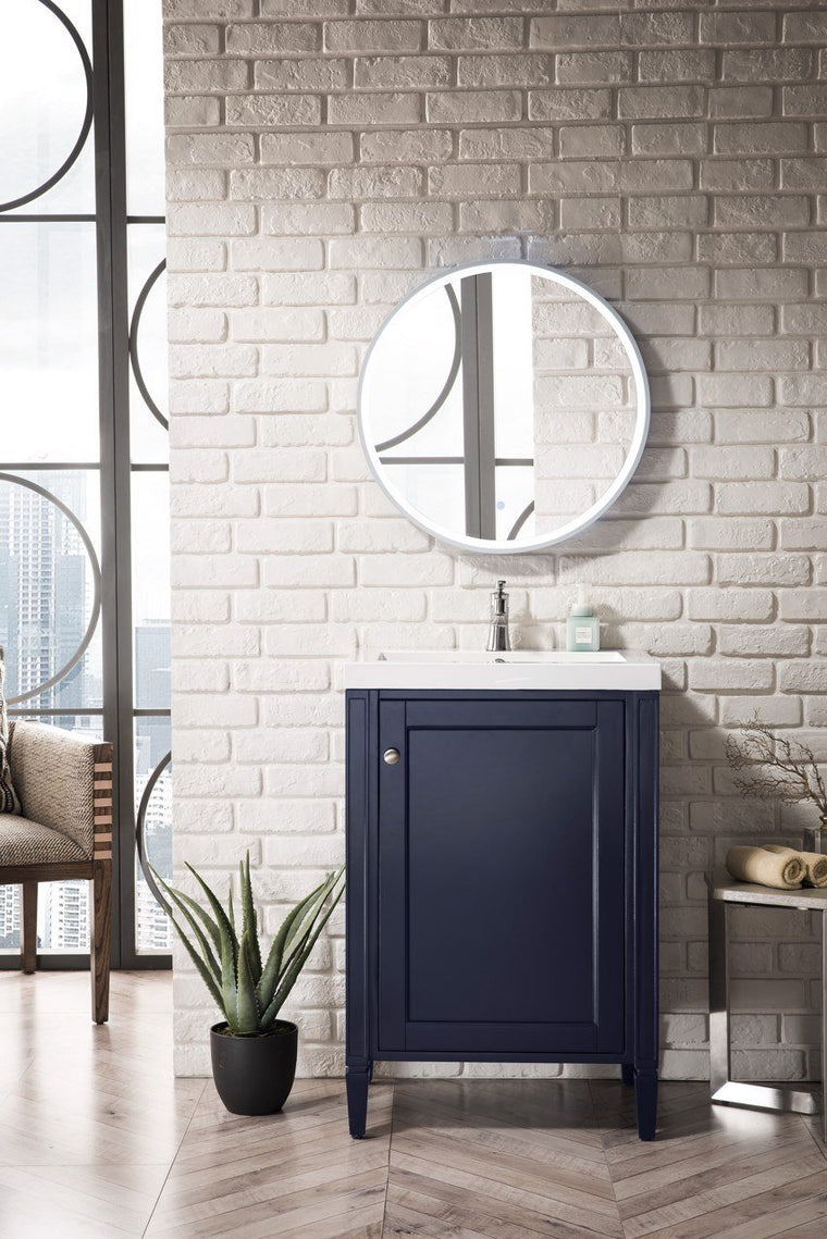 "Britannia 24"" Single Vanity Cabinet, Navy Blue w/ White Glossy Resin Countertop"