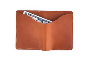 Cognac Leather Passport Wallet