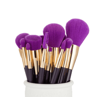 15pcs Purple Wooden Makeup Brushes Set
